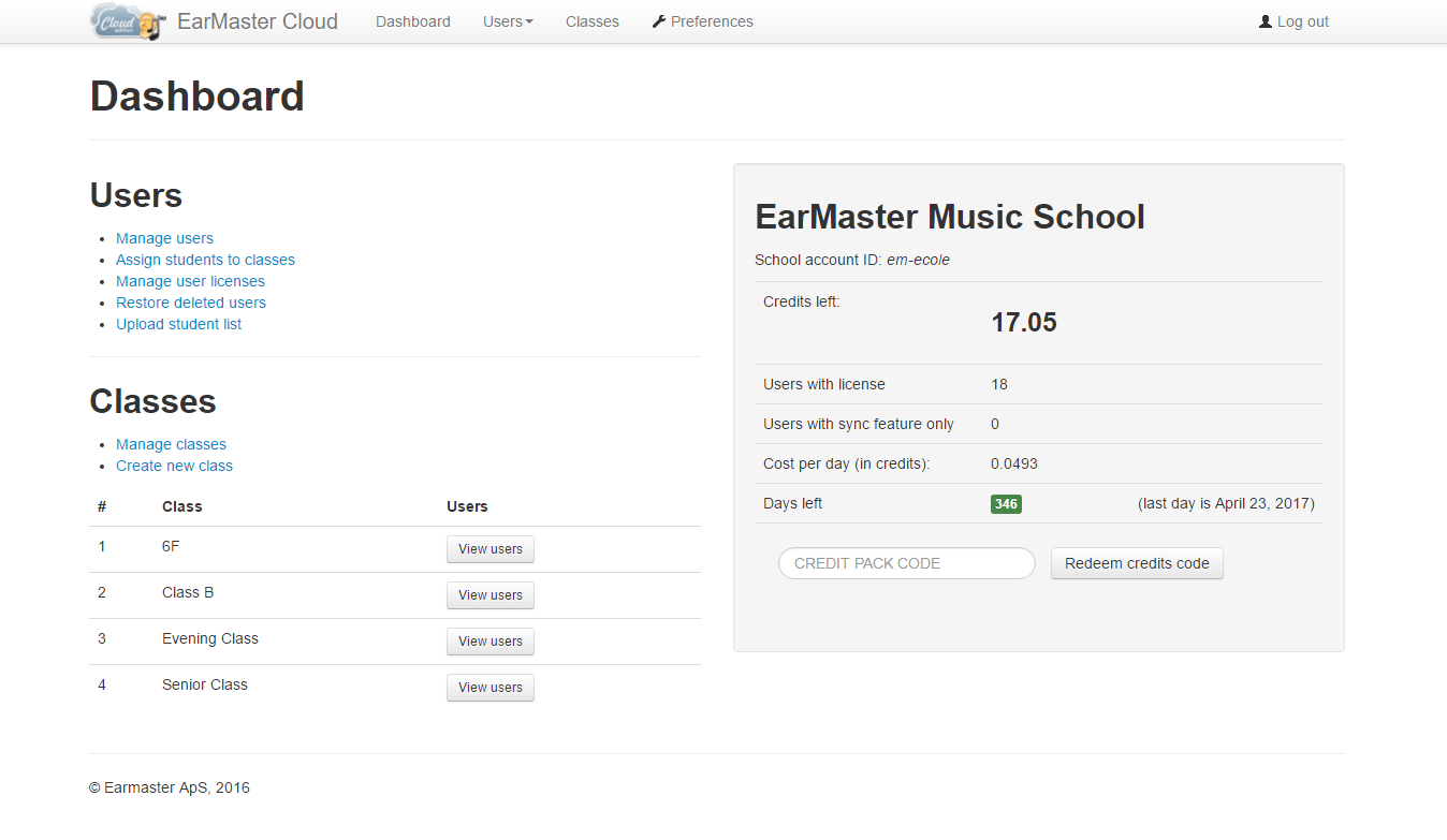 EarMaster Cloud Dashboard