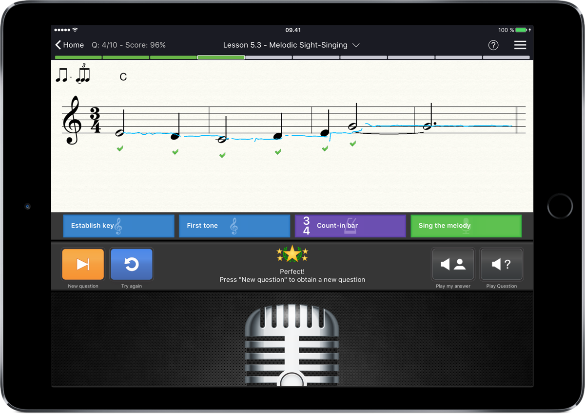 Sight singing w ipadair
